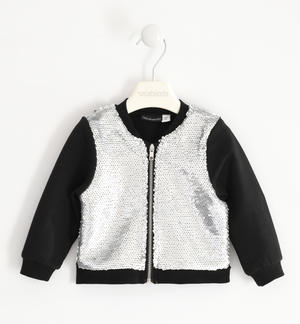 Full zip for girl with sequin fabric