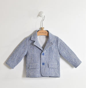 Ceremony jacket for newborn in striped cotton fabric BLUE