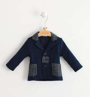 New-born baby jacket of viscose- cotton blend with lapels collar BLUE