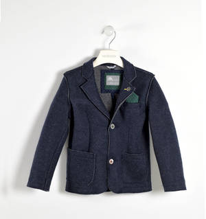Wool blend knitted jacket   BLUE