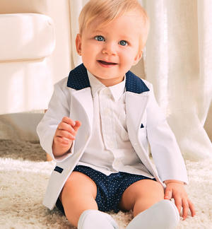 Milan stitch baby boy jacket WHITE
