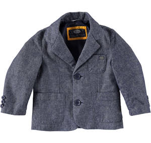 Jacket made in a refined and warm salt and pepper effect fabric.  BLUE