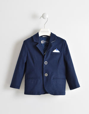 Linen blend jacket with pochette BLUE