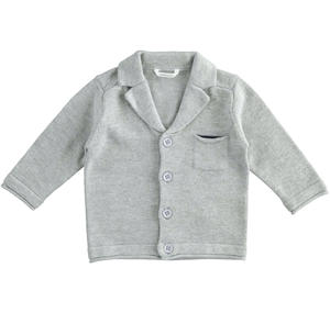 Cardigan jacket of cotton, viscose and cashmere blend tricot GREY