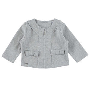 Non brushed lurex fleece jacket with bows GREY