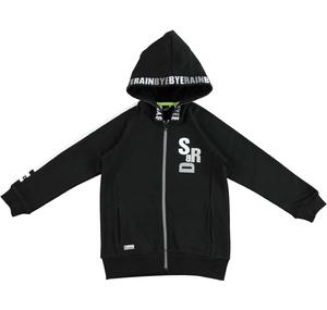 Stretch cotton fleece jacket with jersey lined hood BLACK