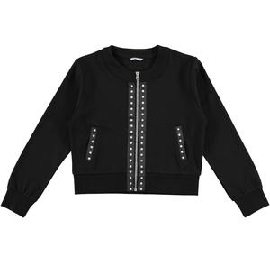 Milano stitch jacket with round neck for girls BLACK