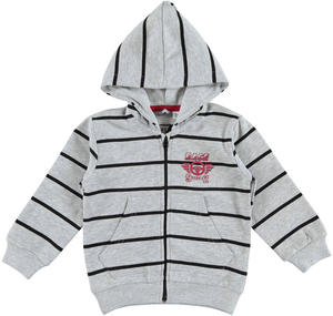 Striped hoodie with kangaroo pockets    GREY