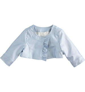 Newborn girl faux leather jacket with ruffles LIGHT BLUE