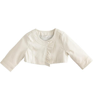 Newborn girl faux leather jacket with ruffles CREAM