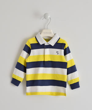 Long-sleeved 100% cotton polo shirt with striped pattern YELLOW