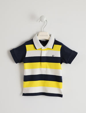 100% cotton polo shirt with striped pattern YELLOW