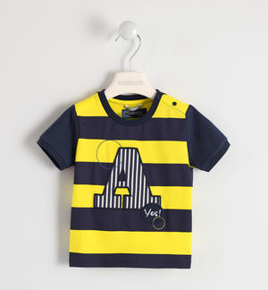 100% cotton striped T-shirt with letter A YELLOW