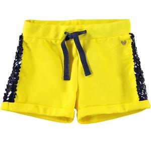 Shorts in felpa con paillettes GIALLO