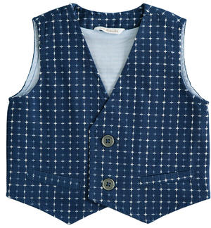 100% cotton baby vest elegant all over pattern BLUE