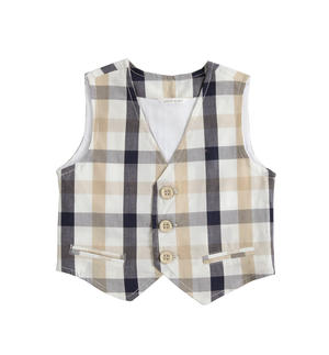 100% cotton vest with check pattern BLUE