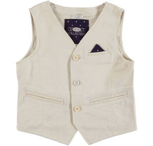 Waistcoat with welt pockets and side pocket with a handkerchief BEIGE