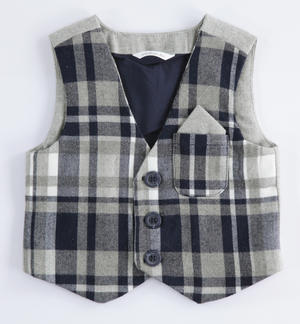 Check pattern vest BLUE
