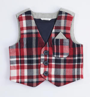 Check pattern vest RED
