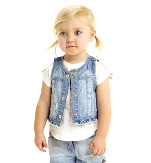 Stone washed denim waistcoat with rips BLUE