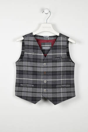 Checked waistcoat with a half belt   GREY