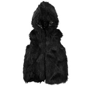 Waist jacket in faux fur with faux leather shoulders BLACK