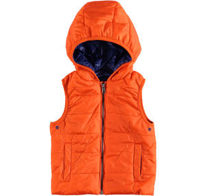 Nylon quilted sleeveless padded jacket with wax finish ORANGE