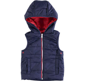 Nylon quilted sleeveless padded jacket with wax finish BLUE