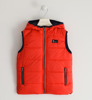 Nylon quilted vest padded with soft wadding RED