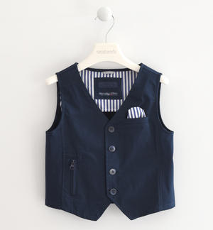 Vest in textured fabric with tone-on-tone micro dotting effect BLUE