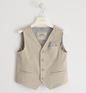Vest in textured cotton fabric BEIGE