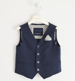 Vest in textured cotton fabric BLUE