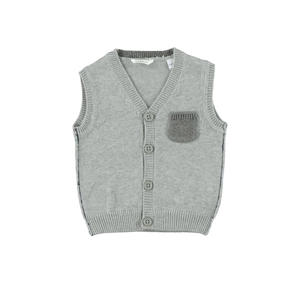 Cotton and cashmere blend tricot waistcoat with pocket  GREY