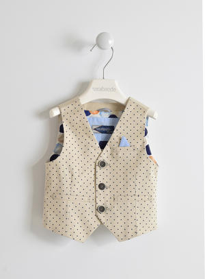 Boy's cotton twill waistcoat with all over polka dot pattern BEIGE