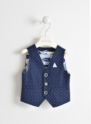 Boy's cotton twill waistcoat with all over polka dot pattern BLUE