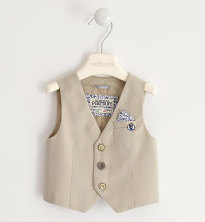 Micro patterned waistcoat with pochette BEIGE