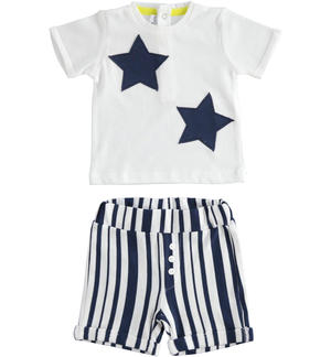 Playful and comfortable two-piece summer outfit for newborn boy 100% cotton WHITE