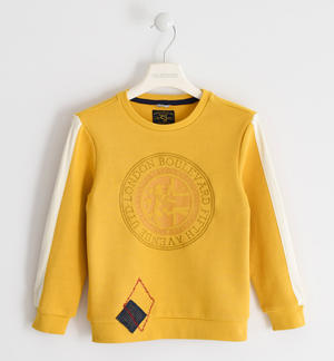 Crew-neck made of 100% cotton with embroidery and pied de poule pattern YELLOW