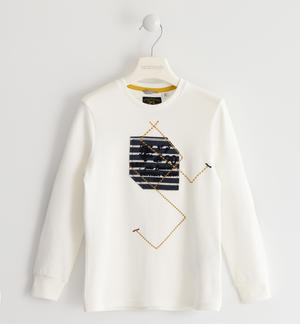 Crew neck sweater in interlock 100% cotton with particular graphics CREAM