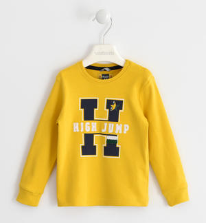 100% cotton crew-neck with sponge effect applications YELLOW