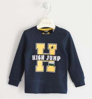 100% cotton crew-neck with sponge effect applications BLUE