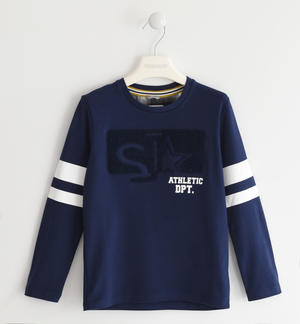 100% cotton crew-neck with sponge effect graphic BLUE
