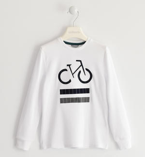 Crew neck sweater made of 100% cotton interlock WHITE