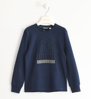 Crew neck sweater made of 100% cotton interlock BLUE