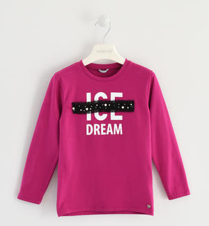 Crew-neck T-shirt with details and application in tulle enriched with pearls FUCHSIA