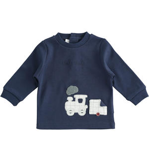 Crew neck with train application for newborn boy