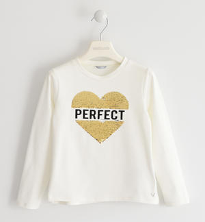 Crew-neck with a heart of reversible sequins CREAM