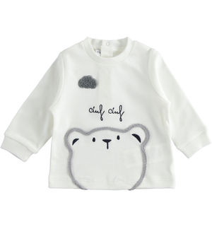 Crew neck with teddy bear and 100% cotton embroidery