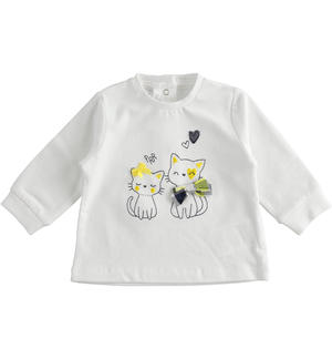 Crewneck with kittens embroidery WHITE