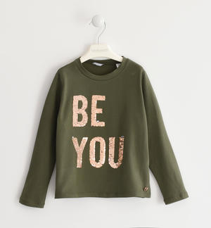 "Girocollo con ricamo paillettes reversibili ""Be you"""